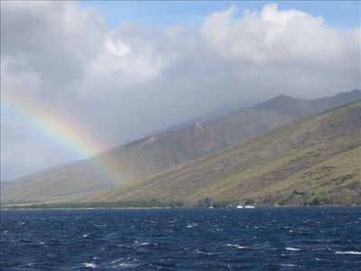 There is always a rainbow, somewhere on Maui.  Watch the whales jumping!