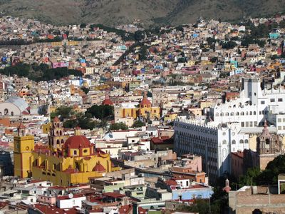 Guanajuato townhome rental - House is located near middle of photo next to trees and church