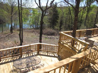 3 huge decks provide a great view of the lake and will be shaded most of the day