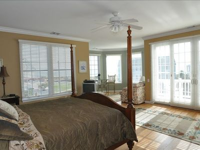 Cape May villa rental - huge master suite with king poster bed, sitting room, private deck - ocean views