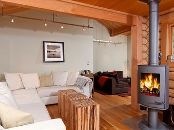 Wilson cabin rental - Living Room and Modern Wood Stove