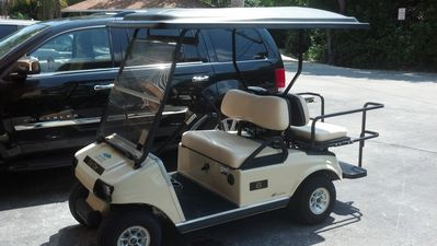 The golf cart available for use around the complex.