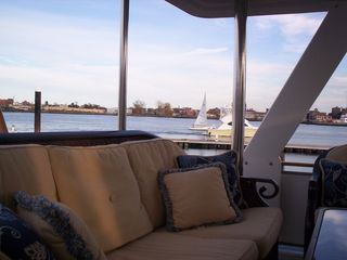 Boston yacht photo - Watch the harbor traffic from the aft deck