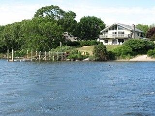 Saunderstown house rental - Direct Water Front with private beach adjacent, 50 foot mahogony dock