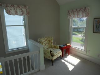 Cape Charles house photo - Seating area in master bedroom 2 overlooking crape myrtles in front of the house