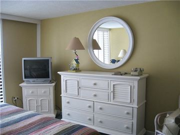 Master Bedroom has large Dresser, Mirror and TV with DVD/VCR