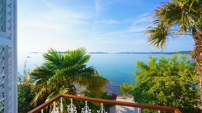 Seafront Villa Agnes, old captains house, beachfront villa with private pool