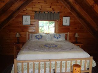 Lunenburg cabin photo - Loft Bedroom w/ King Size pillow top bed