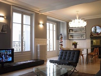 4th Arrondissement Pompidou Le Marais apartment rental - the very large and bright living room.