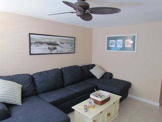 Wildwood Crest condo photo - Living room couch 2 chaise lounge chairs and pull queen sofa bed