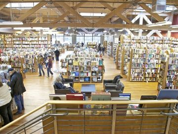The interior of our favorite bookstore, Elliott Bay Books, two blocks away.