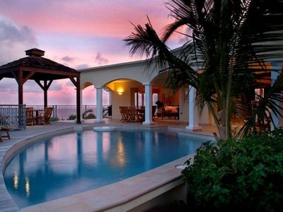 Dawn Beach house rental - Pool, Gazebo and deck with open living room in the background