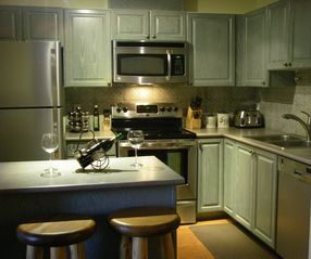 Whistler townhome photo - Full gourmet kitchen with beautiful hardwood floors and basic food staples