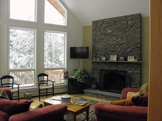 Burke chalet photo - Living room with fireplace
