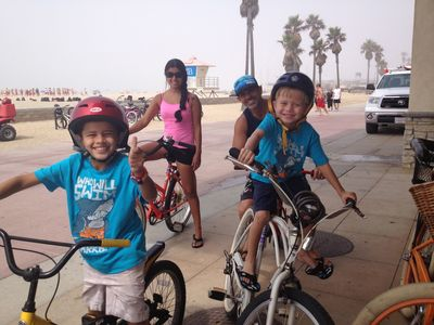 Ride you bike on the Huntington Beach Boardwalk