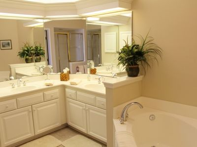Master bath with garden tub and walk-in shower