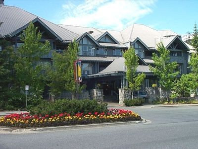 Whistler condo rental - Front view onto the Glacier lodge at Whistler on the Famous upper Village.