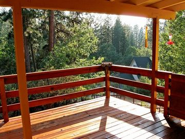 Oakhurst house rental - Redwood Stained Large Back Deck With Amazing Views