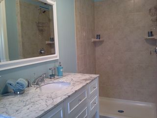 Lavallette house photo - New Alabaster marble vanity,Italian tile shower & floor.