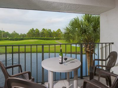 Golf course and pond view from private balcony!
