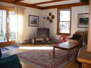 Eastham house photo - The family room with TV,DVD,VCR and ample seating and a slider to the back deck.