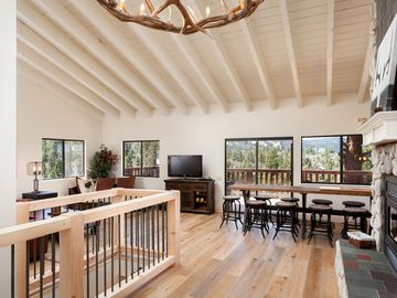Big Bear Lake cabin rental - High Vaulted Ceilings, European Oak Wood Floors, Grand Elk Chandelier...VIEWS
