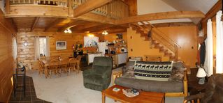 Greenville cabin photo - Main living room, looking back at the kitchen and dining areas.