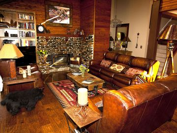 Carnelian Bay house rental - For the discerning guest: Hickory floors, stone fireplace, leather, seats 10.