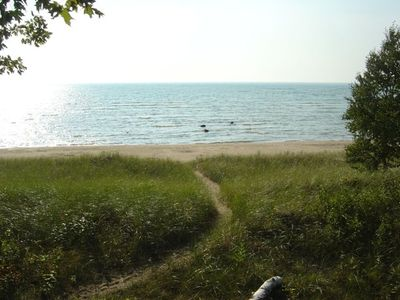 View from cabin of path to beach.