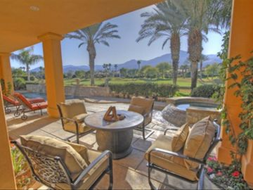 La Quinta estate rental - Warm away cool nights with our outdoor firepit and lounge area.