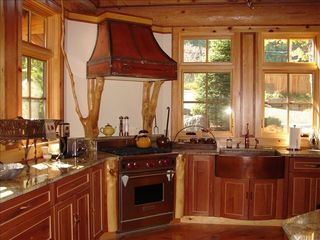 Cooperstown cabin photo - Fully equipped chef's kitchen with copper hood, sinks and faucets