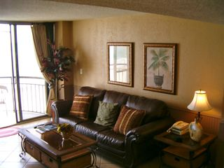 Meridian Plaza condo photo - Ocean front living room with quality furniture.