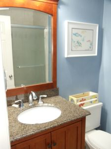 Carolina Beach condo rental - Enjoy the New Master Bathroom for 2013! New Tiled Shower and Sink Cabinet .....