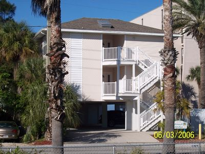 The outside of our beachside condo, Island Sands 101, first floor