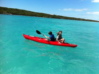 Coming back from the beach! Kayaking from Thevine house to Moriah Cay is +-10min