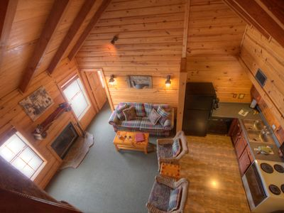 Great room of 2-bedroom lakefront cottage taken from add'l sleeping loft