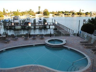 Pool and view of Boca Ciega Bay from balcony