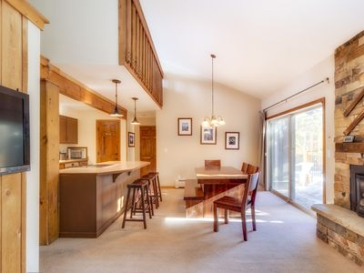 Bright, open layout with lofted ceiling and lots of natural light.
