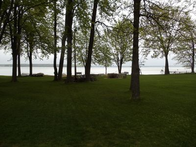Burt Lake condo rental - View of Burt Lake from the front porch.