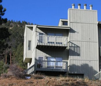 Front of Townhome with Decks facing east - Top Deck Master Bedroom