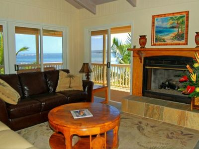 Upstairs Ocean View Living Room with flat screen tv and deck.