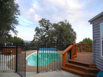 Mariposa house rental - Spa, pool, and deck looking south, view, view, view.