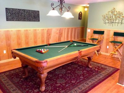 Beautiful, full size pool table in large rec room