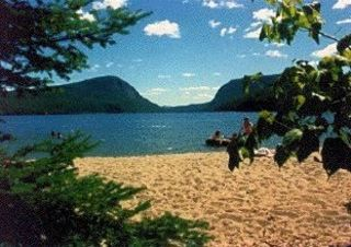 Lake Willoughby cottage photo - Our Private Beach 100' of 800' with 'Cooling' Brook at Border