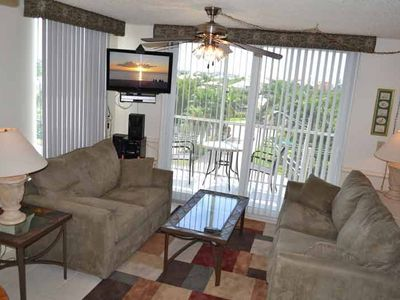 Living Room w/Micro Fiber sleeper sofa, love seat, flat screen TV, ScreenedPorch