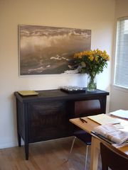 Santa Cruz house photo - Dark bamboo credenza and danish birch table in Dining area