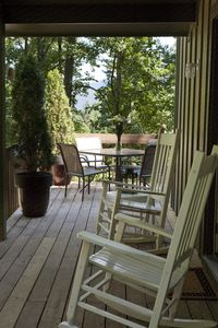 Front Porch with deck and mountains in background