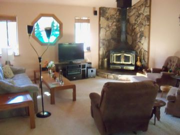 Living area with HDTV and surround sound plus DVD player and DVDs