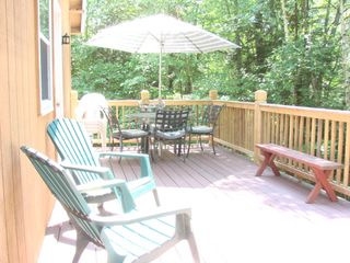Newfound Lake house photo - Private back deck 12x25 with gas grill
