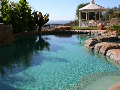 Santa Rosa villa rental - Jungle-style swimming pool, with attached spa on right. Spa seats 8 comfortably
